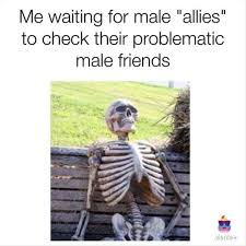 Image result for me waiting for my male allies to check