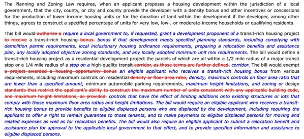 Bill Text SB 827 Planning and zoning transit rich housing bonus